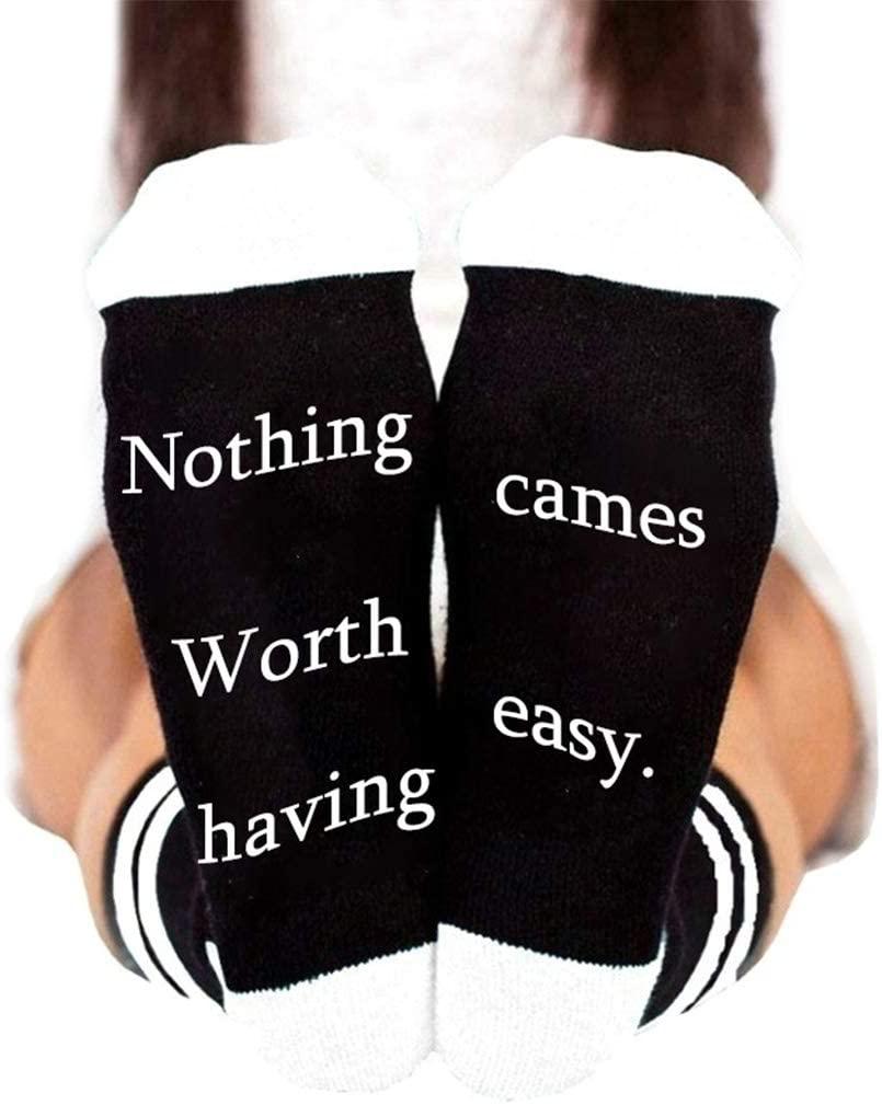 minansostey Unisex Funny Saying Stripes Socks Nothing Worth Having Cames Easy Letter Hosiery