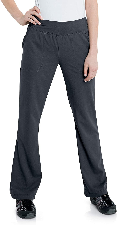 Urbane Women's 2 Pocket, Contemporary Slim Fit Yoga Waist Medical Scrub Pants 9330, Graphite, X-Large