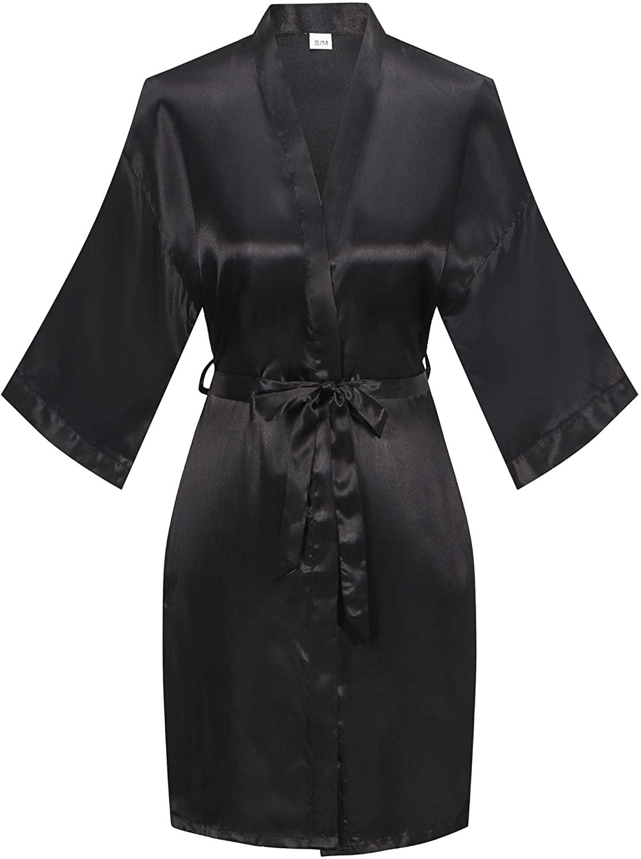 Old-to-new Women's Short Silk Kimono Robes Nightgown Satin Bathrobe Wedding Party Robe