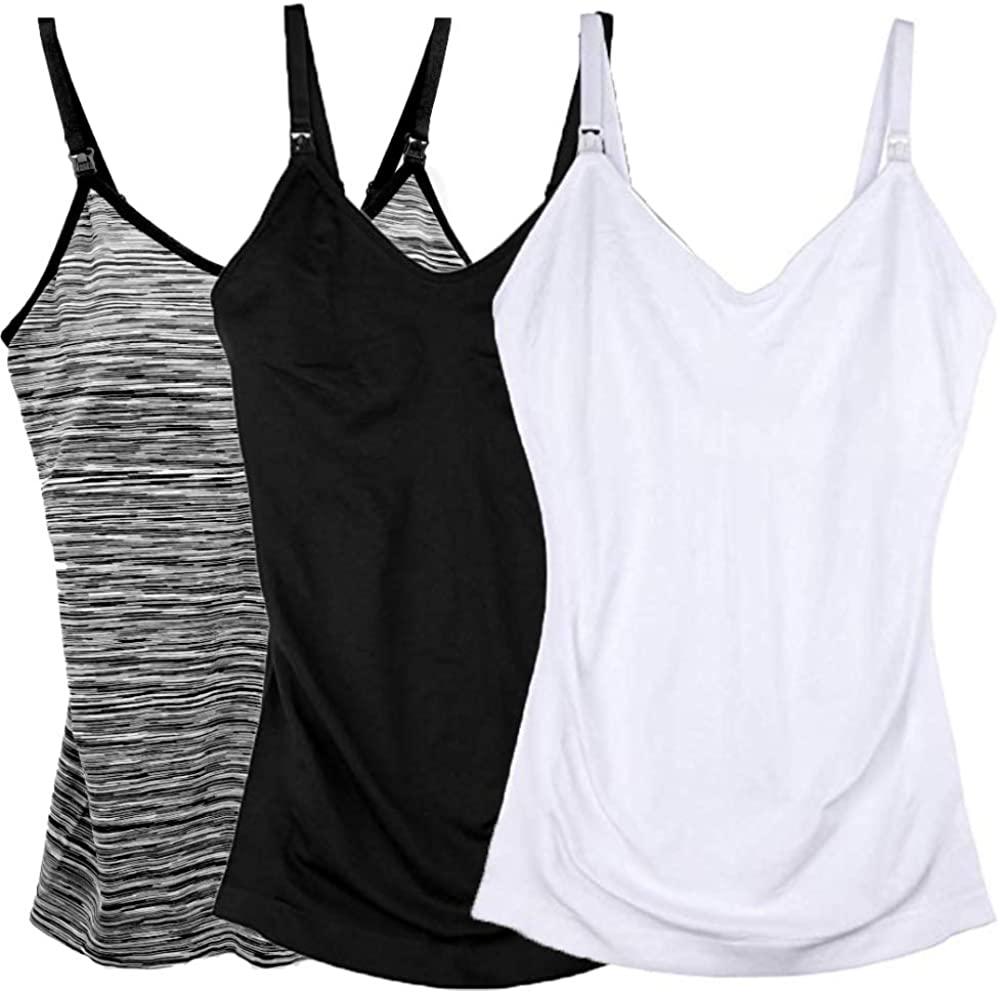 Maternity Nursing Camisole Tank Top Breastfeeding Cami Shirt with Pad Bra