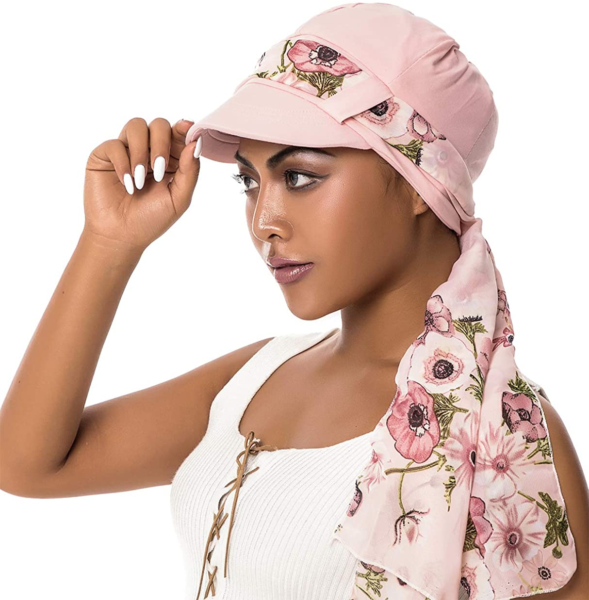 Newsboy Cap with Scarf Breathable Bamboo Cotton Lined Chemo Hat for Women of DORALLURE Pink