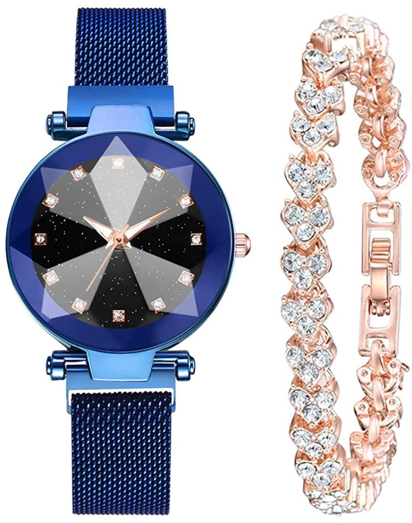 Adeliber 2PCs / Set, Women Valentine's Day Luxury Fashion Stainless Steel Strap Watch Full Diamond Bracelet