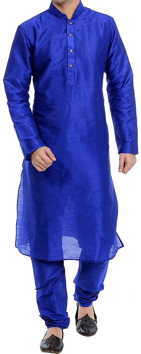 ROYAL FOCIL Silk Blend Blue Men's Kurta Pyjama