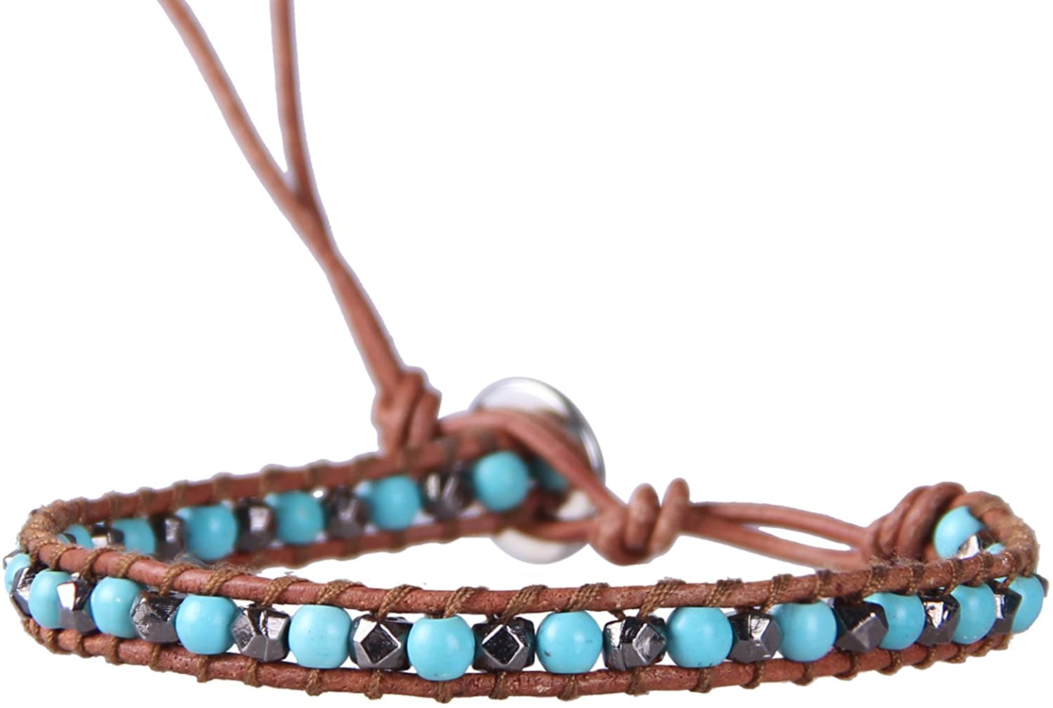 KELITCH Blue Created-Turquoise and Gray Hematite Bead Wrap Bracelet on Brown Leather
