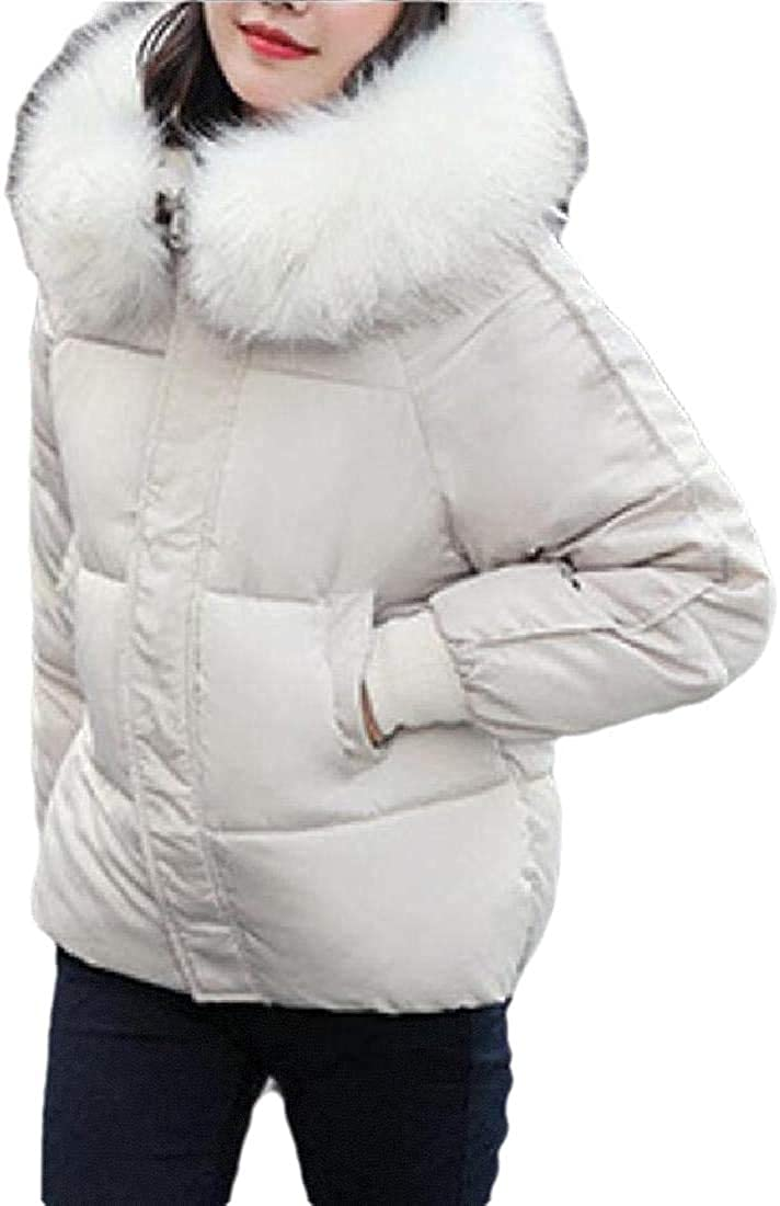 Womens Casual Vintage Faux Fur Hooded Warm Thick Down Jacket Coat