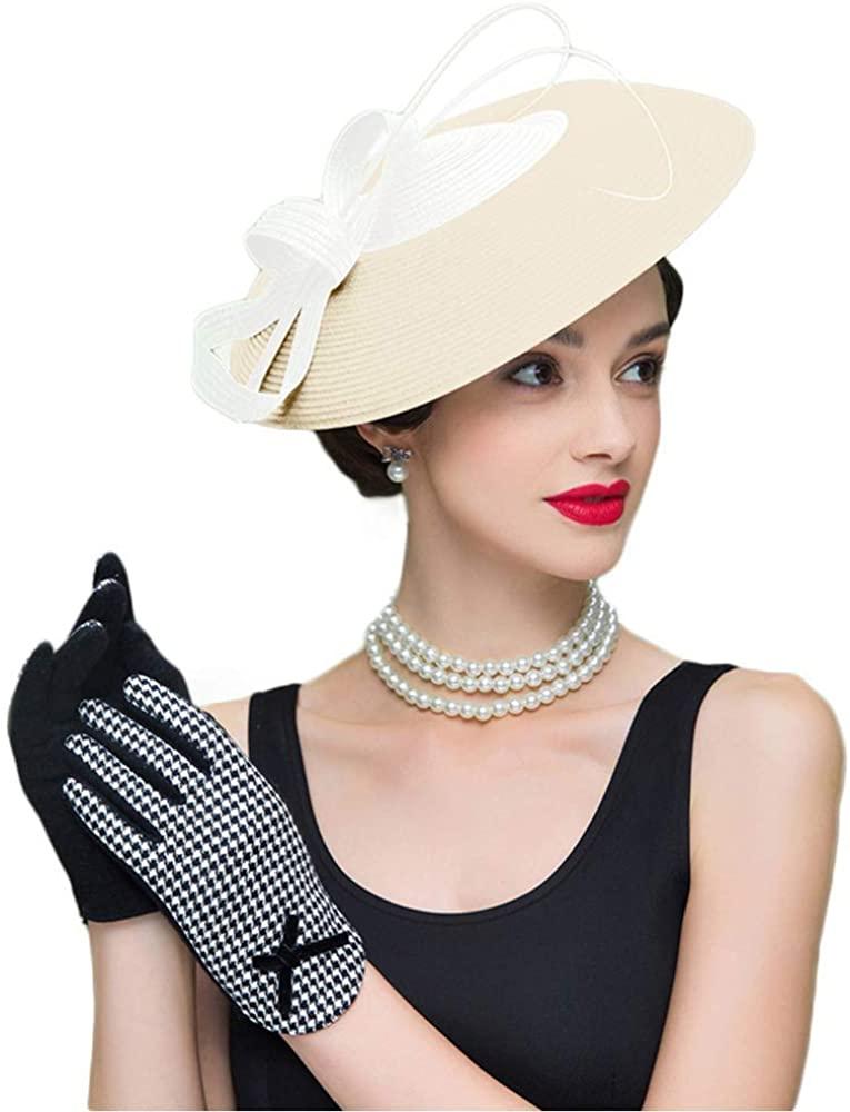 FADVES Fascinators Pillbox Hat Weddings Women Straw Fedora Vintage Sinamay Base Hats