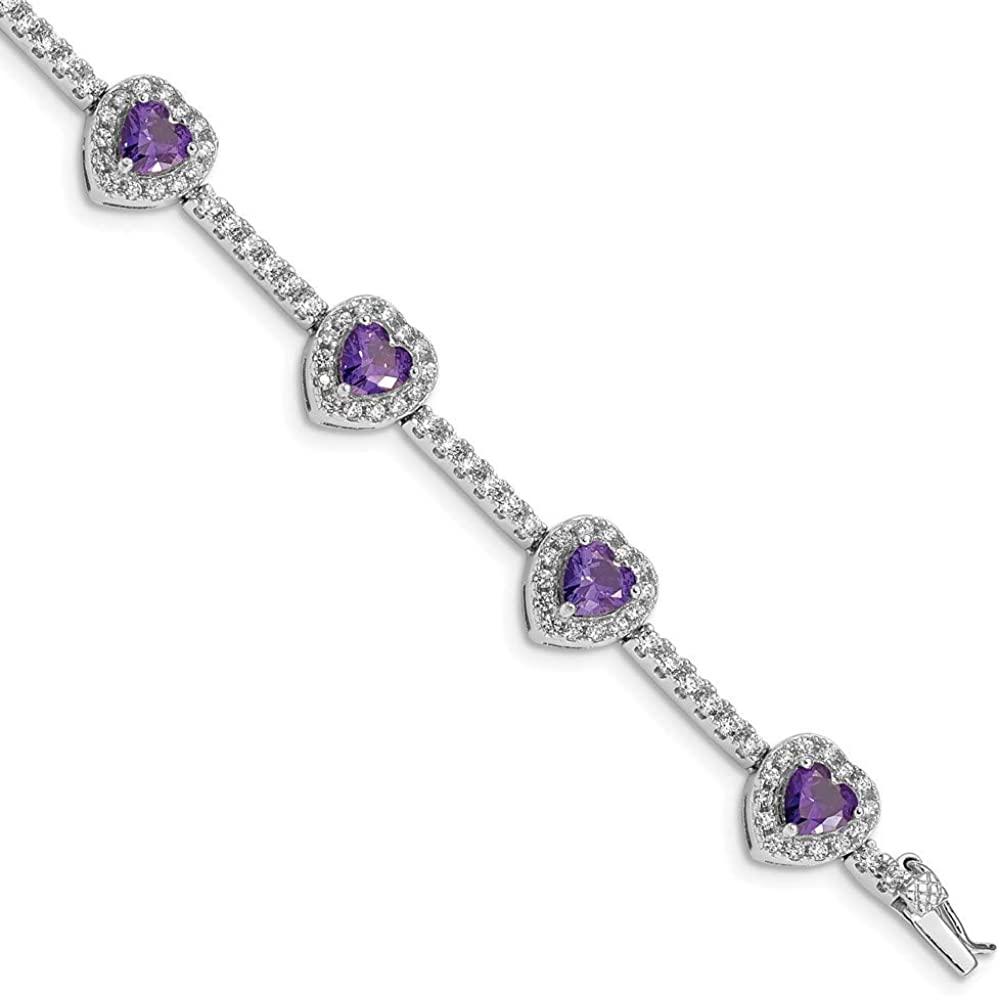 Solid 925 Sterling Silver Amethyst Purple February Gemstone and Clear CZ Cubic Zirconia Heart Bracelet 7