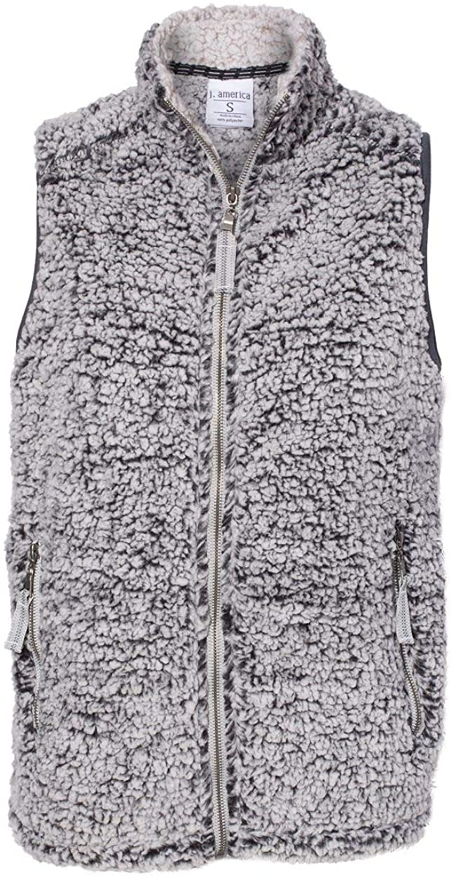 J. America JA8456 Ladies' Epic Sherpa Vest Black Heather L