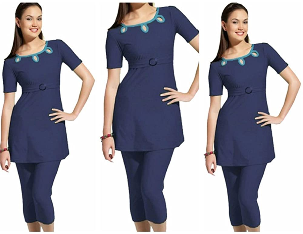 ZS Girls & Ladies Modesty Swimming Suit, UPF 50+ Short Sleeve Swimwear for Summer Holiday Black