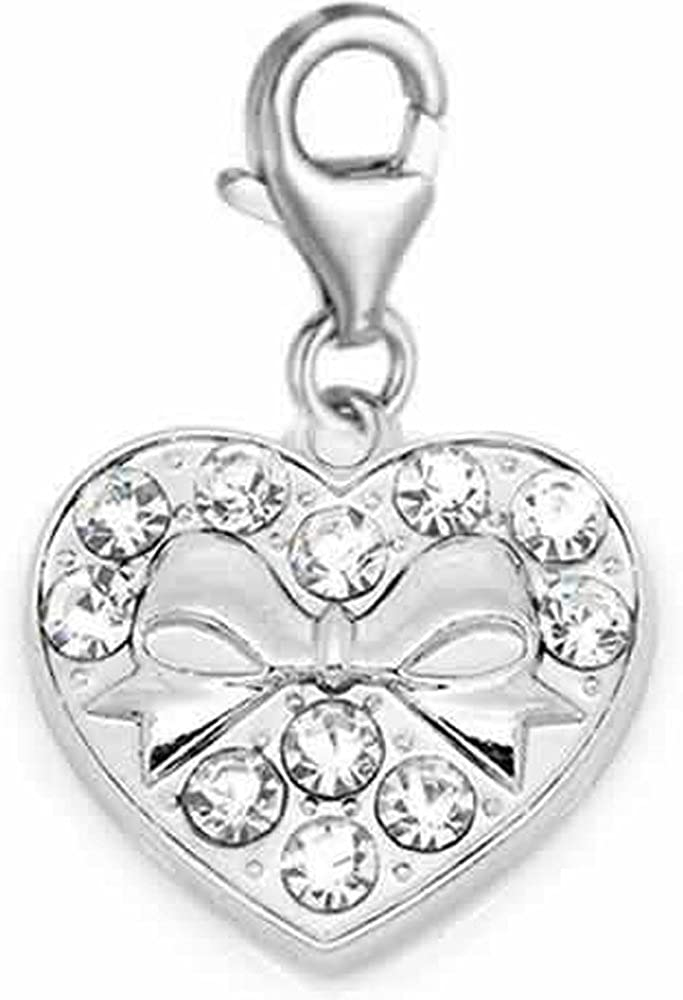 Sexy Sparkles Clip on Heart with Bowknot Charm for European Jewelry with Lobster Clasp