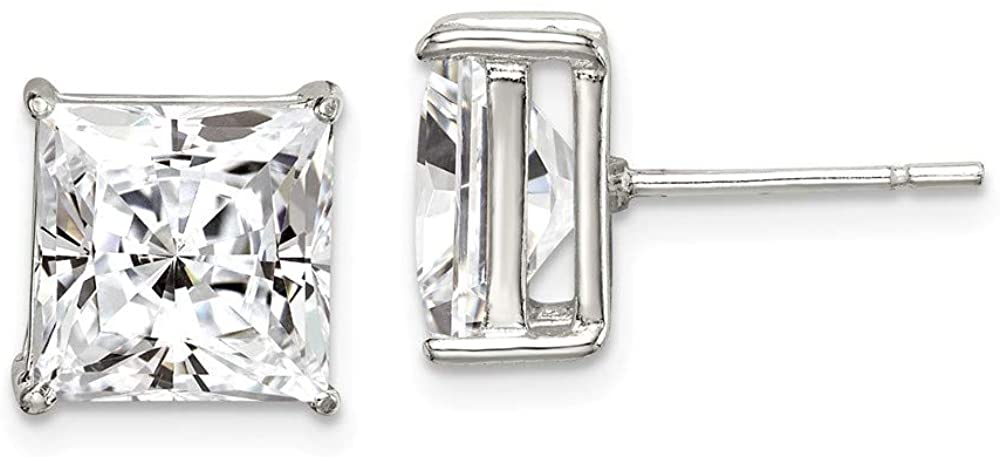 Solid 925 Sterling Silver 9mm Square CZ Cubic Zirconia Basket Set Stud Earrings