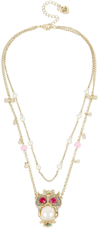 Betsey Johnson (GBG) Pearl Owl Pendant 2 Row Necklace (B12556-N01)