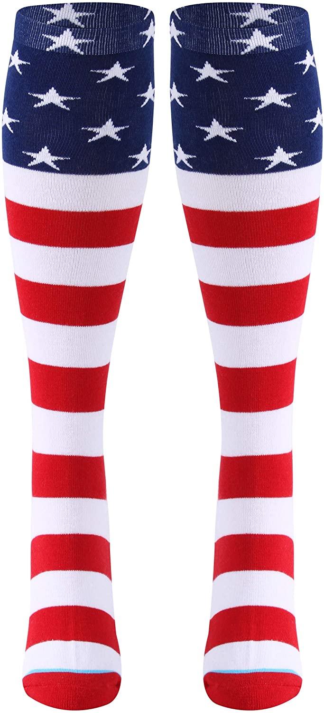 Gmall Women's Novelty Funny Chicken Legs Socks American Flag Socks Knee High Casual Socks