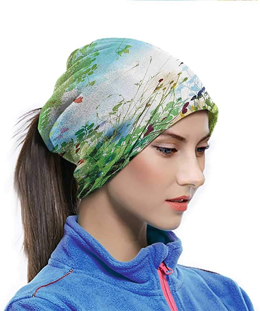 Balaclava Headwear Ferns and Petals Flourishing Nature Fantasy Complex Mixed Digital Watercolors Design Image Dust Protection Face Cover Fabric Had Good Elasticity and Fit Good Multi 10 x 11.6 Inch
