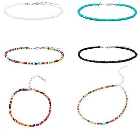 6 Pieces Bohemian Glass Beaded Choker Necklaces Tiny Colorful Seed Collar for Women Girls Summer Surfer Beach Holiday Jewelry