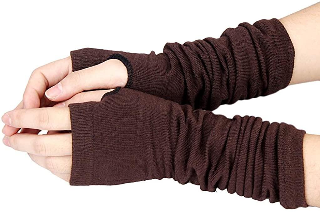 Gloves, Hatop Women Winter Warmer Knitted Long Fingerless Gloves Mitten