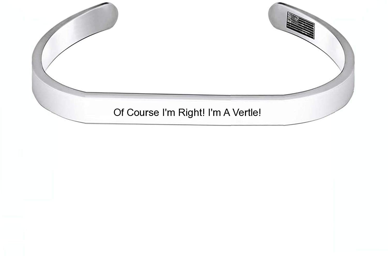 Enhome Cuff Bracelets of Course I'm Right! I'm A Vertle! for Women Birthday Gifts for Her Silver Cuff Bangle American Flag Bracelet