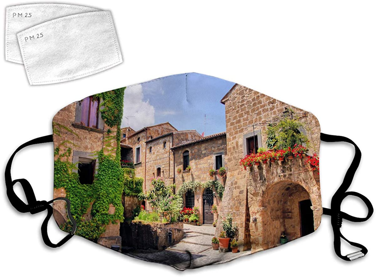 Multi Usage Face Cover UP Italian Streets in Countryside with Traditional Brick Houses Old Tuscan Prints Balaclava Reusable Windproof Mouth Cover with 2 Filter