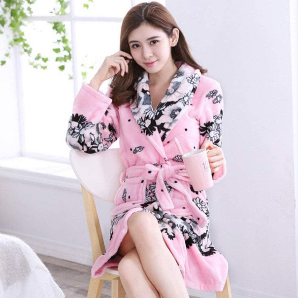llwannr Autumn and Winter Flannel Robe Ladies Bathrobe Coral Velvet Pajamas Home Service Bathrobes Trend New,Pink,L