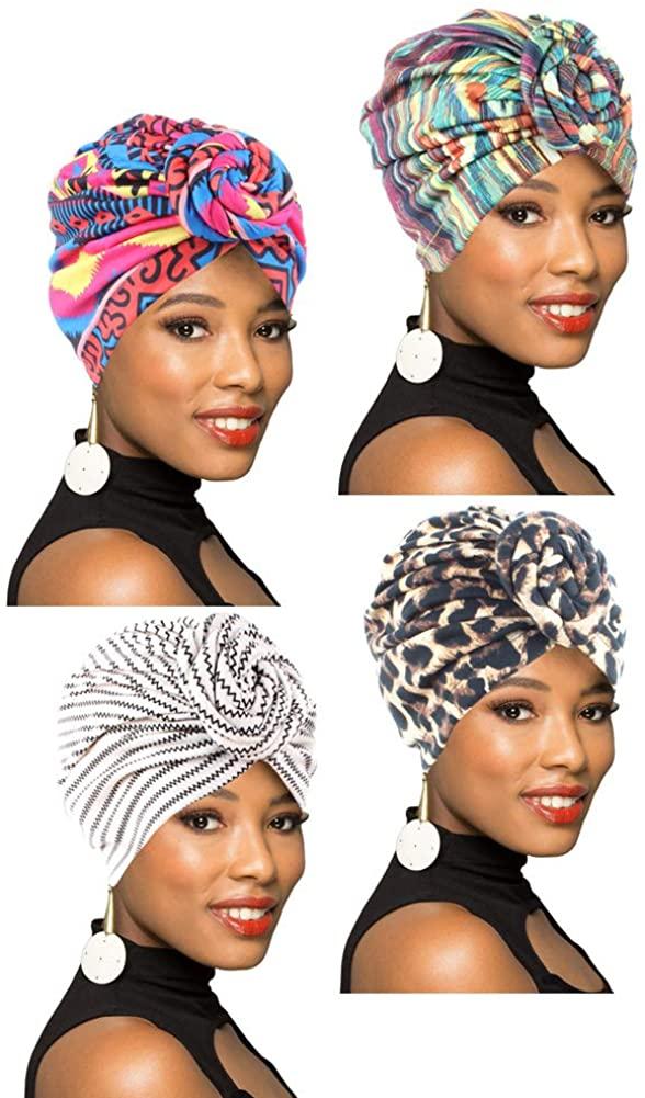 4Packs Women Turban African Pattern Knot Headwrap Beanie Pre-Tied Bonnet Chemo Cap Hair Loss Hat