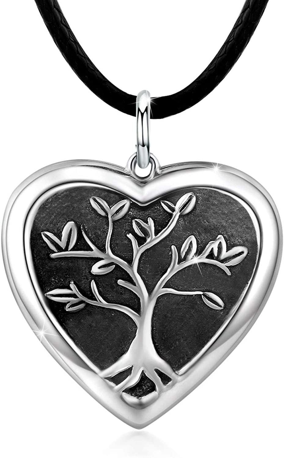 Tree of Life Locket Necklace, Locket Necklace That Holds Pictures S925 Sterling Silver Vintage Oxidized Heart Locket Photo Pendant Family Gifts for Women Teen (white 4)