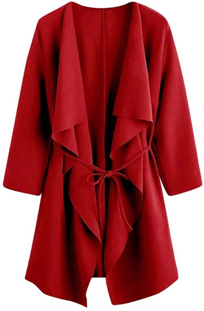 HGWXX7 Women Casual Waterfall Collar with Pocket Open Front Wrap Coat Jacket Outwear Cardigans