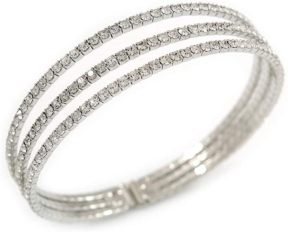 Avalaya Delicate 3 Strand Clear Crystal Flex Cuff Bracelet in Silver Tone Metal - Adjustable