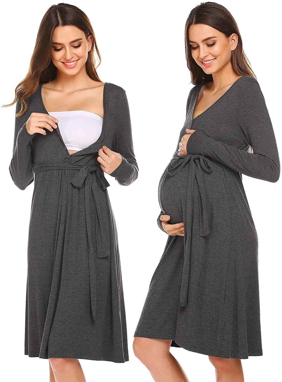 Ekouaer Maternity Sleepwear Nightgown Long Sleeve Delivery/Labor/Nursing Dress Hospital Gown for Breastfeeding
