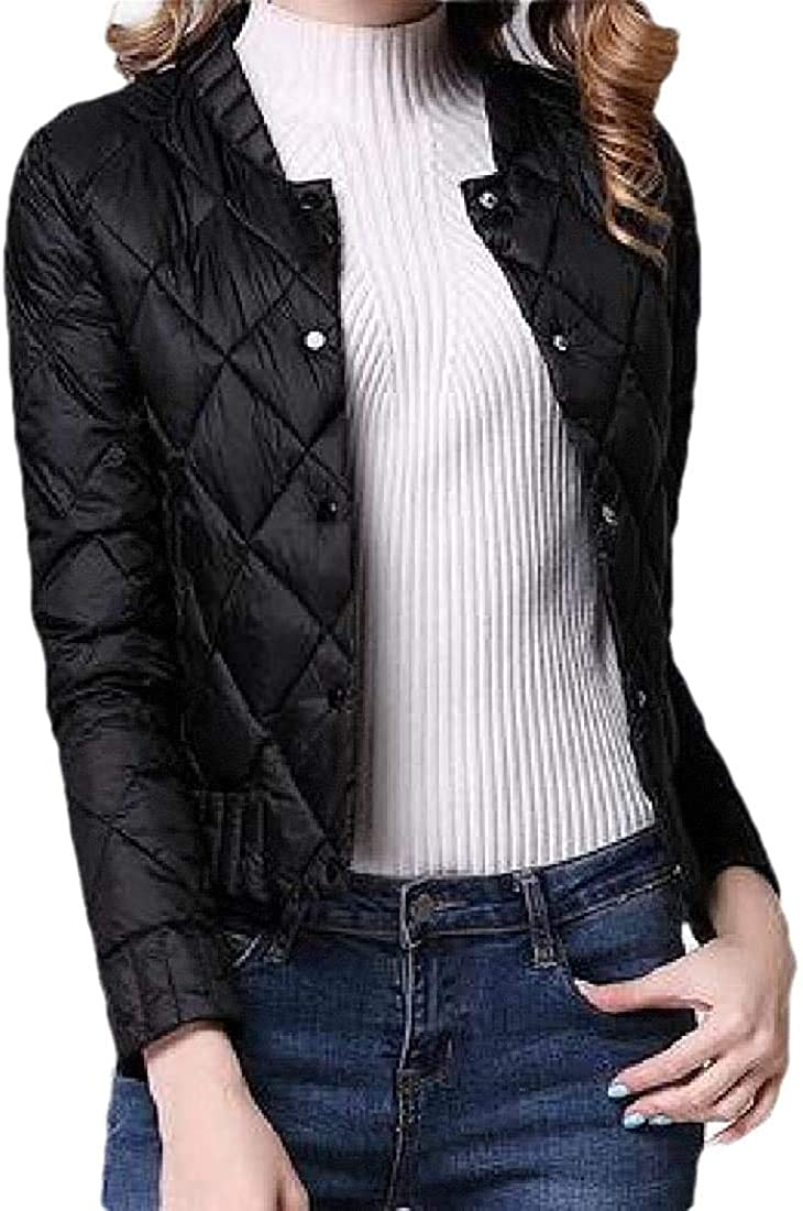 Womens Round Neck Button Long Sleeve Slim Fit Loose Short Jacket Down Overcoats Tops