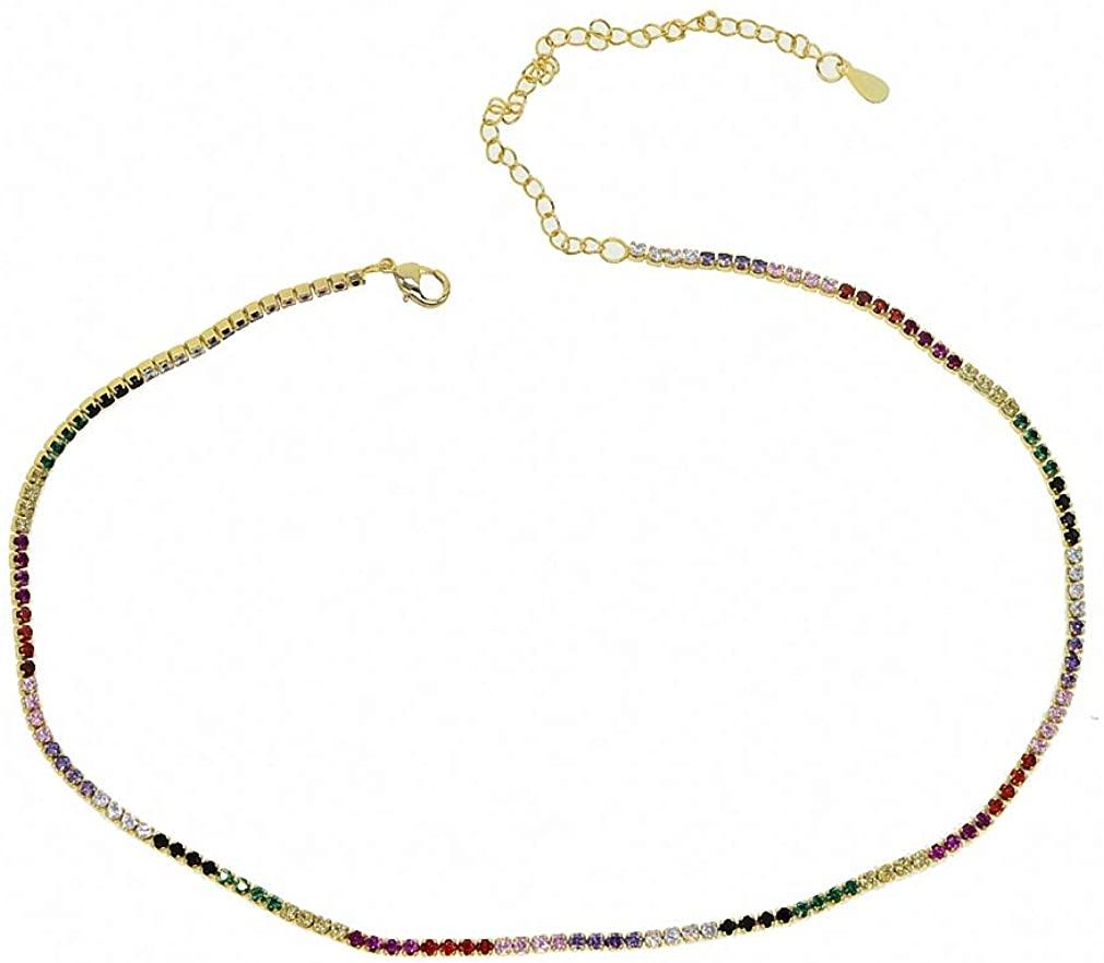 Christmas Vermeil Jewelry Choker Rainbow CZ Tennis Chain Thin Layer Sexy Necklace Elegance Rainbow Necklace