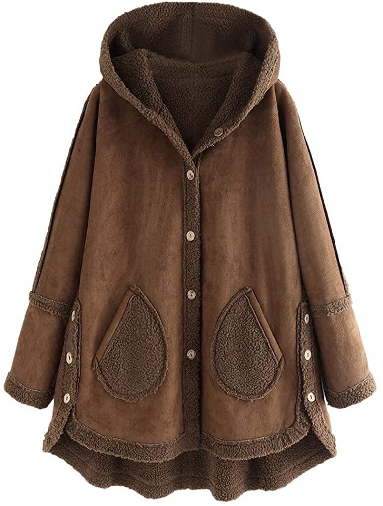LEKODE Jacket Women's Plush Solid Hooded Cardigan