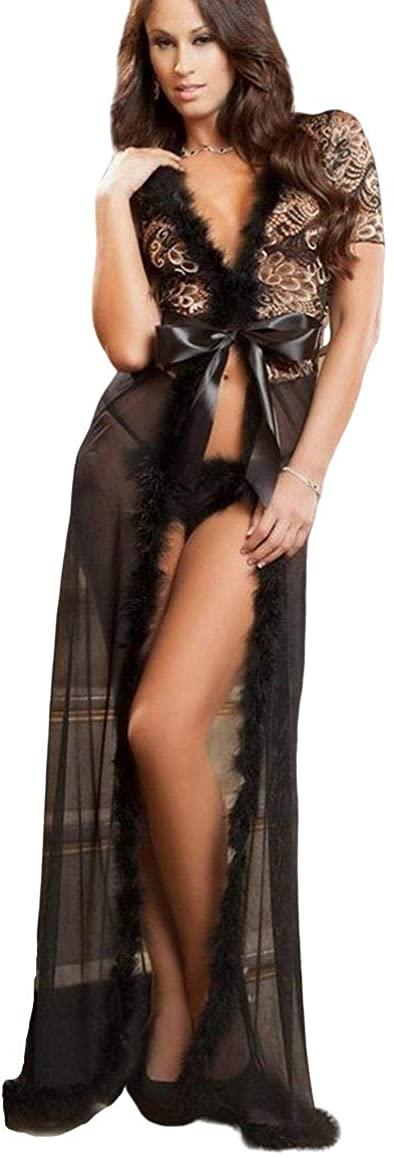 Golden Goddess Night Robe with Faux Fur Trim