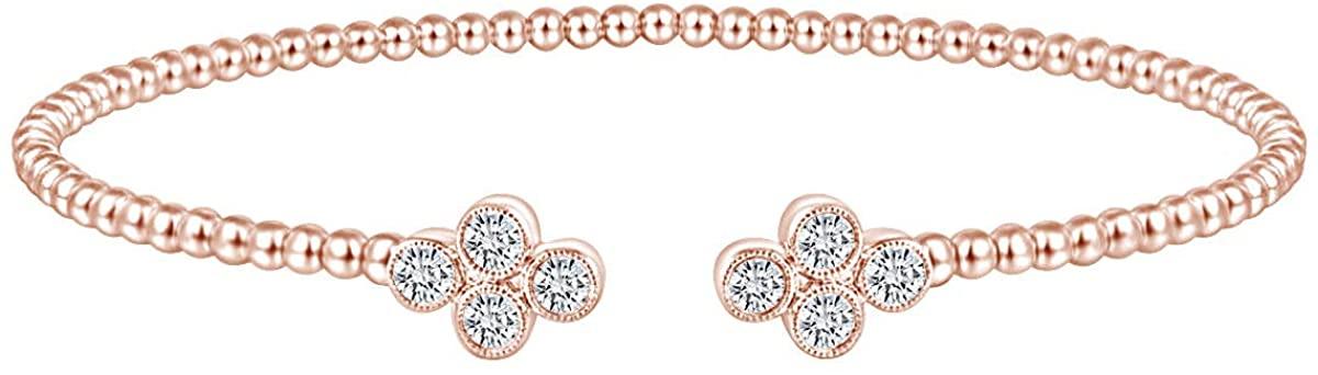 White Natural Diamond Adjustable Beaded Motif Bangle Bracelet 14K Gold Over Sterling Silver (I-J Color, I2-I3 Clarity, 0.41 Cttw)