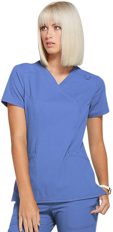 Elle Simply Polished Mock Wrap Top, EL620, XS, Ciel Blue
