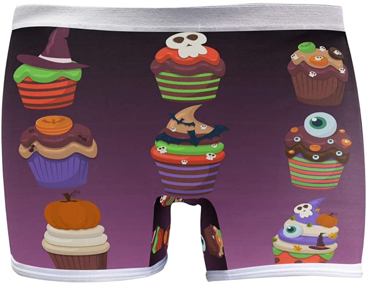 SLHFPX Womens Underwear Boxer Briefs Cupcake Scary Sweets Ladies Soft Boxer Briefs Panty