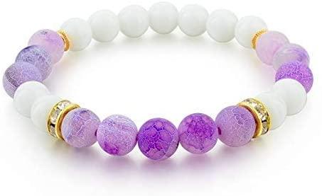 DJPP Purple Pendant Classic Agate Stone Fashion Bracelets Women's Natural Bead Strand Bracelets Men Jewelry Valentine's Friendship Bracelet Attend Parties and Give Their Friends The Best GIF
