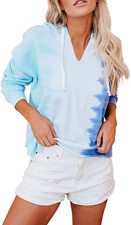 Meenew Women's Tie Dye Hoodies Long Sleeve Sweatshirt Casual Loose Pullover Tops