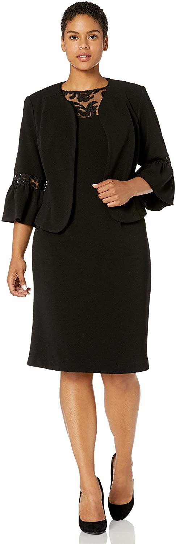 Maya Brooke Women's Plus Size Embroidered MESH Neckline and Sleeve Jacket Dress