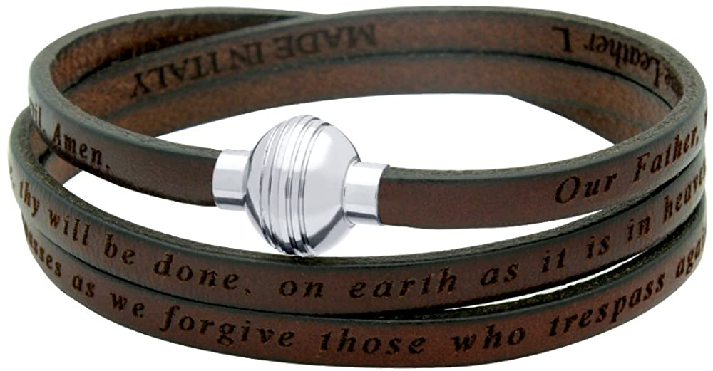 LORD'S PRAYER ENGRAVED LEATHER WRAP BRACELET - BROWN (8 Inches)