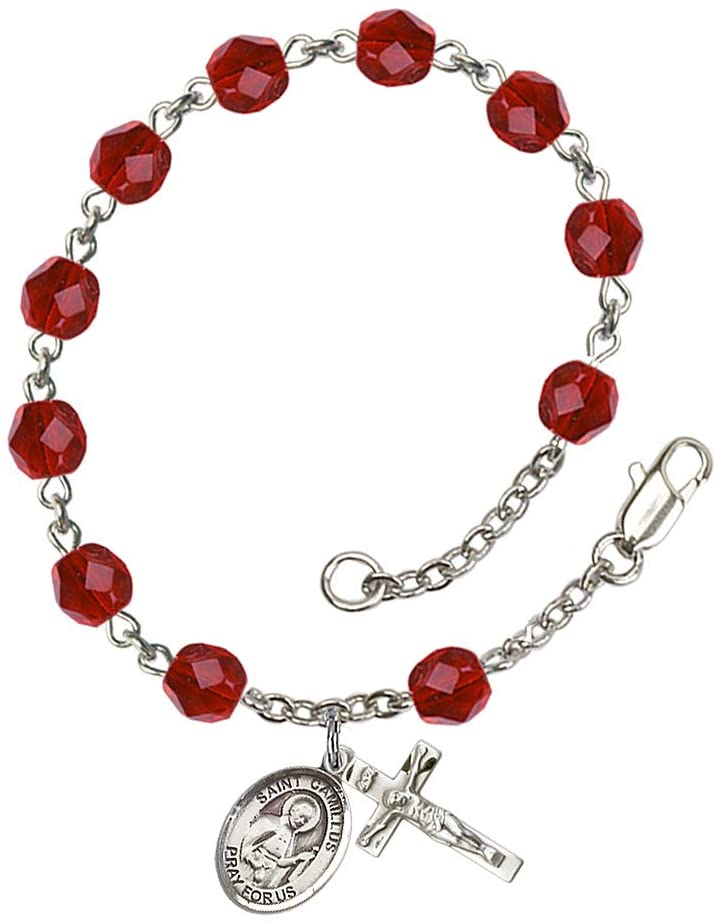 Silver Plate Rosary Bracelet features 6mm Ruby Fire Polished beads. The Crucifix measures 5/8 x 1/4. The charm features a St. Camillus of Lellis medal.