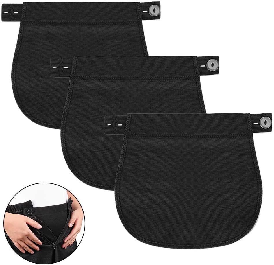Accmor Maternity Pants Extender, 3 Packs Cotton Pregnancy Pant Extenders, Adjustable Pregnancy Waistband Extender Trouser Extender for Pregnancy Women
