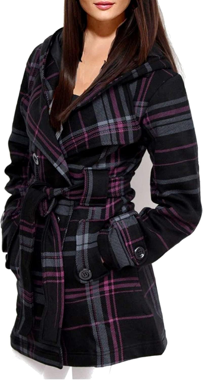 ZJ-Fashion Ladies Women's Check Hooded Belt Fleece Duffle Jacket Parka Coat Jackets New-D