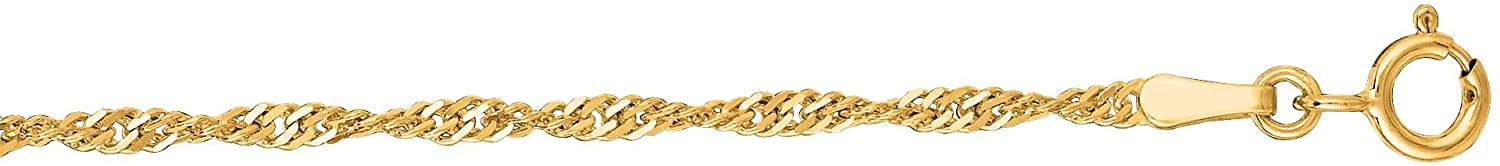 Finejewelers 10 Kt Yellow Gold 10k 16 Inch 1.7mm Classic Singapore Chain Necklace with Lobster Clasp