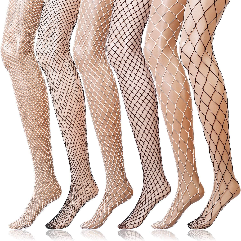6 Pairs Fishnet Stockings Women's High Waist Fishnet Tights for Girls Ladies (3 Black, 3 White, M/L/XL Hole)