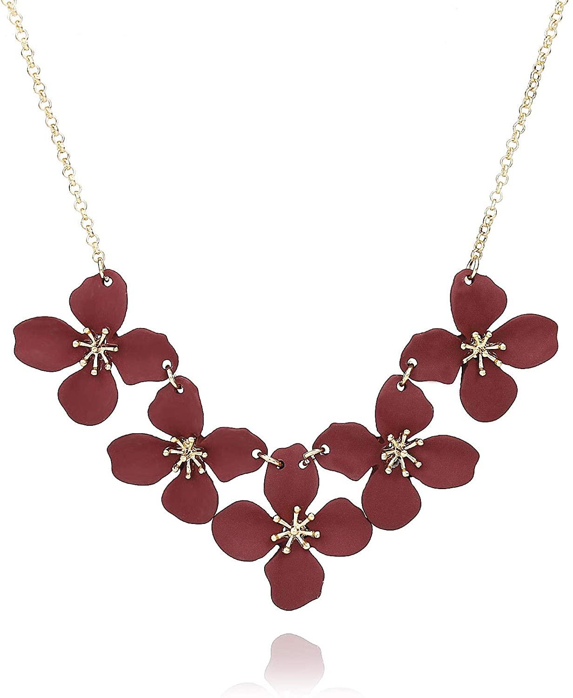 Pomina Floral Flower Bib Necklace Fashion Statement Floral Collar Short Necklace for Women