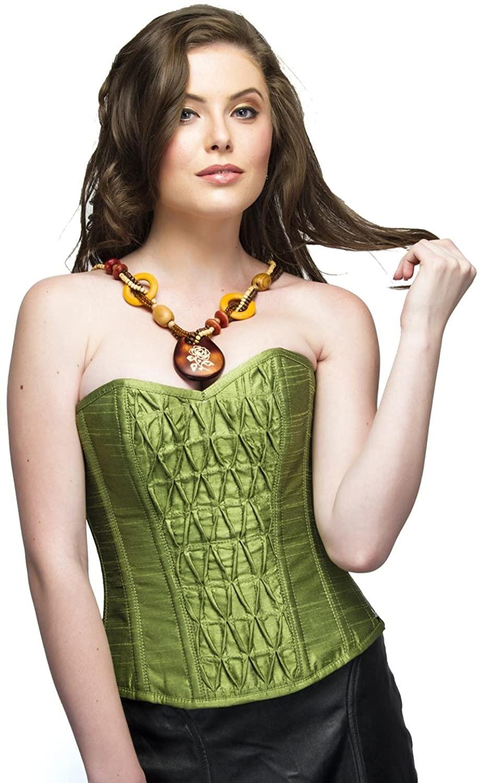 Pea Green Silk Gothic Burlesque Plus Size Corset Waist Cincher Overbust Top