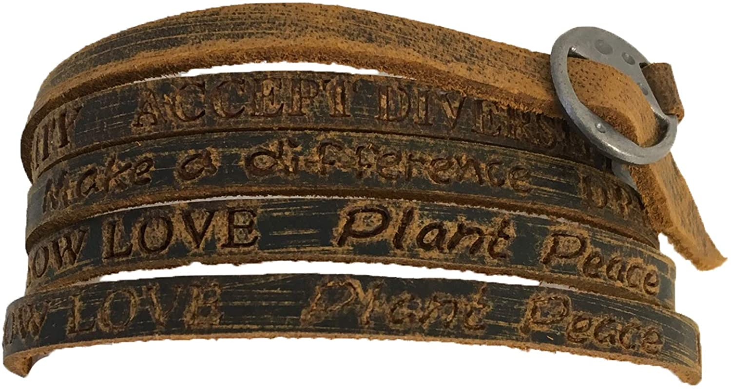 B Jewelry Collection Sow Love Plant Peace Inspire Stamped Leather Wrap Bracelet, Brown
