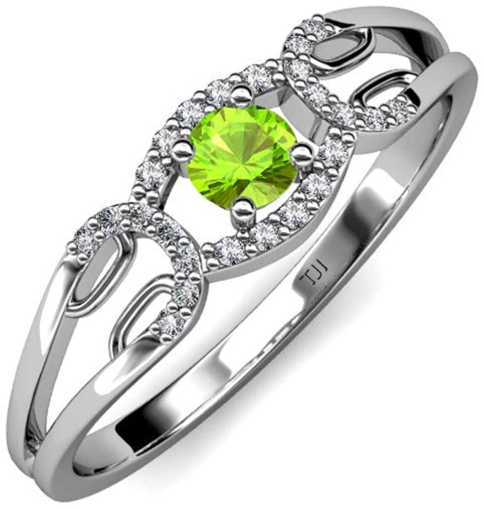 TriJewels Peridot Diamond 1/3 ctw Womens Promise Ring 14K Gold