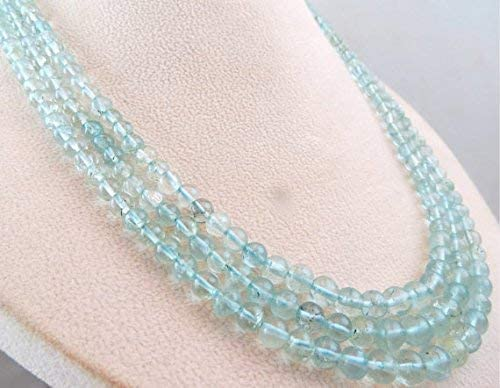 Natural Blue Aquamarine Round Beads Necklace 19 INCHES 5.5MM to 4.5MM by Gemswholesale