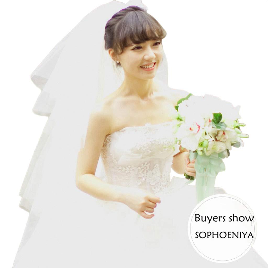 cici store 4 Layers Women Wedding Dress Veil, Tulle Ribbon Edge Bridal Veils Accessories